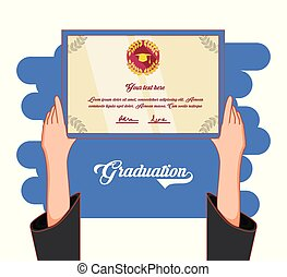 graduação, cartão, convite, ícone