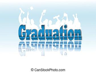 graduação, celebração, em, silueta