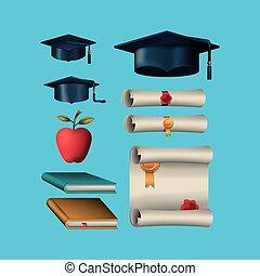 graduação, celebração, jogo, ícones