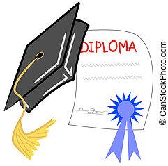 graduação, chapéu, e, diploma