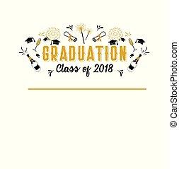 graduação, classe, de, 2018, cartão cumprimento, e, convite, template., vetorial, partido, invitation., grad, poster.