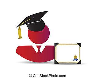 graduação, conceito, desenho, avatar, ilustração