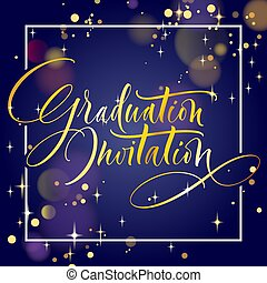 graduação, convite, mão, lettering