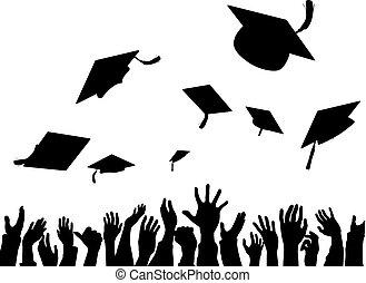 graduação, convocação, celebração, bonés, silueta
