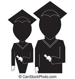 graduação, educação, ícone, em, silueta, pretas, branco, backround