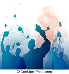 graduação, em, silueta
