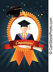 graduação, estudante, fita