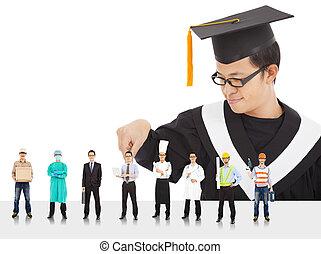 graduação, estudante masculino, ter, diferente, carreiras,...