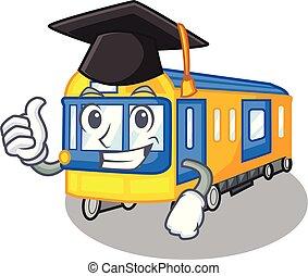 graduação, forma, trem, metrô, brinquedos, mascote