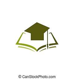 graduação, livro, boné, educação, logotipo, desenho, vetorial, ilustração