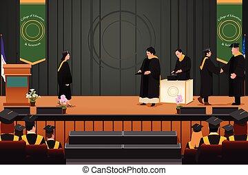 graduação, menina, em, pódio