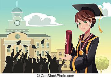 graduação, menina, segurando, diploma