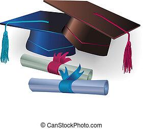 graduação, morteiro, com, certificado