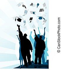 graduação, morteiro, e, diploma