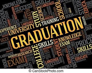 graduação, palavra, nuvem