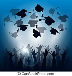 graduação, silhuetas, celebração