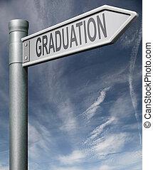 graduação, sinal, caminho cortante
