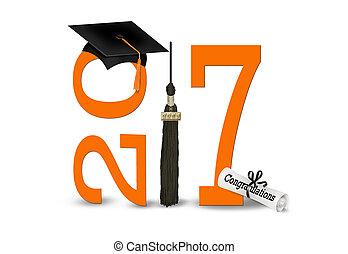 graduación, 2017, en, negro y, naranja