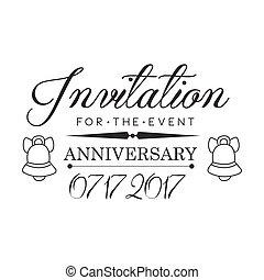 graduación, aniversario, fiesta, negro y blanco, invitación, tarjeta, diseño, plantilla, con, calligraphic, texto
