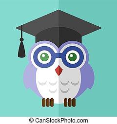 graduación, búho, estudiante, icono, plano, señal, símbolo,...