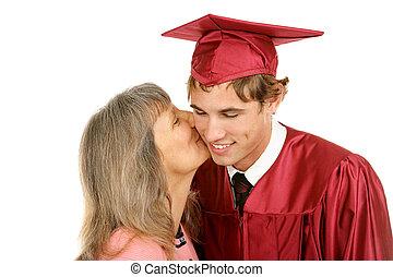 graduación, beso, de, mamá