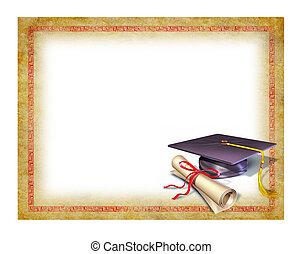 graduación, blanco, diploma