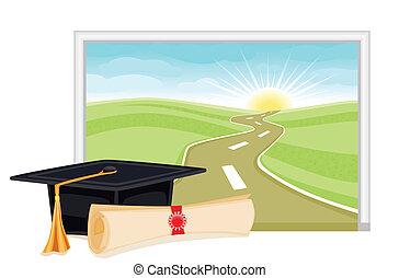 graduación, brillante, comienzo, futuro
