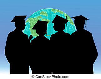 graduación, celebración, estudiantes