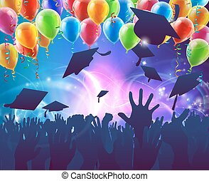 graduación, celebración, fiesta