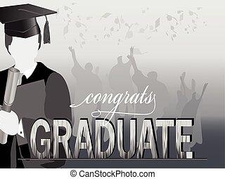 graduación, celebración, silueta