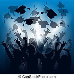 graduación, celebración, siluetas