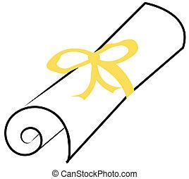 graduación, cinta, amarillo, diploma