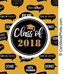 graduación, clase, de, 2018, fiesta, invitación, cartel, o, bandera, plantilla