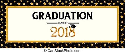 graduación, clase, de, 2018, saludo, bandera, template., vector, fiesta, invitación, banner., grad, poster.