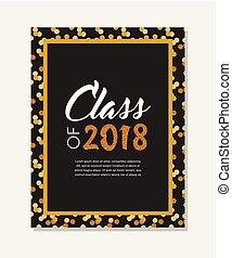 graduación, clase, de, 2018, tarjeta de felicitación, y, invitación, template., vector, fiesta, invitation., grad, poster.