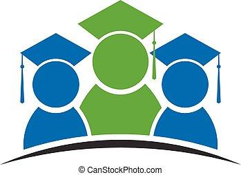 graduación, clase, estudiante, logotipo