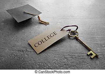 graduación, colegio, llave