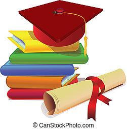graduación, con, estudio