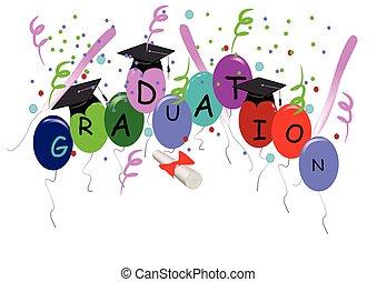 graduación, con, globos, blanco