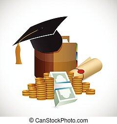 graduación, dinero, ilustración, diseño