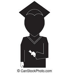 graduación, educación, icono, en, silueta, negro, blanco, backround
