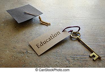 graduación, educación, llave