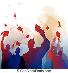 graduación, en, silueta