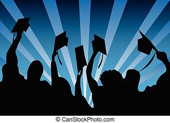 graduación, estudiantes, plano de fondo