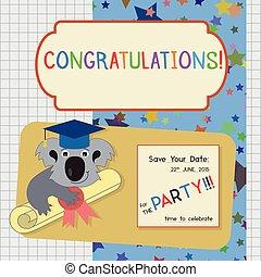 graduación, felicitación, invitación, plantilla, con, koala