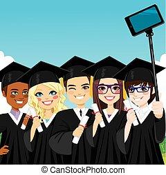 graduación, grupo, selfie