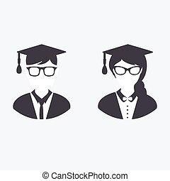 graduación, iconos