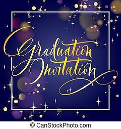 graduación, invitación, mano, letras