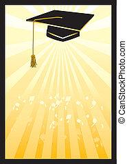 graduación, mortero, tarjeta, en, amarillo, spotlight.