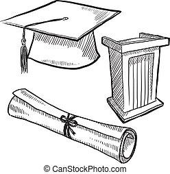 graduación, objetos, bosquejo